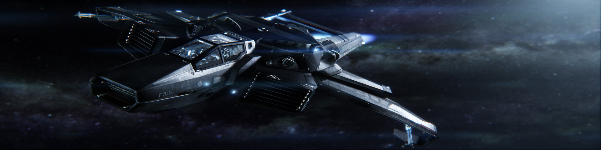 A box-chassis fighter on the burn in deep space.